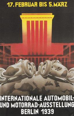 Affiche van de tentoonstelling in Berlijn in 1939 met daarop de Duitse race-successen.