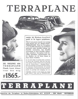 Nederlandse advertentie uit 1935 voor deHudson Terraplane.
