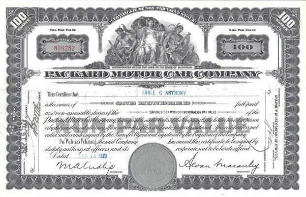 100 Aandelen Packard Motor Car Company uit 1929. Dit stuk (met een ander nummer, jaartal en tenaamstelling) is te koop, prijs € 15,00 email: automobielhistorie@gmail.com