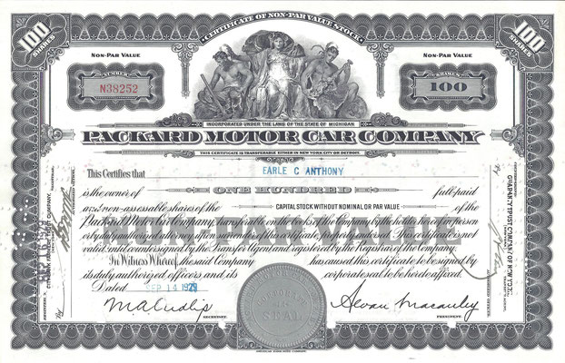 Certificaat voor 100 aandelen Packard Motor Car Company uit 1929.