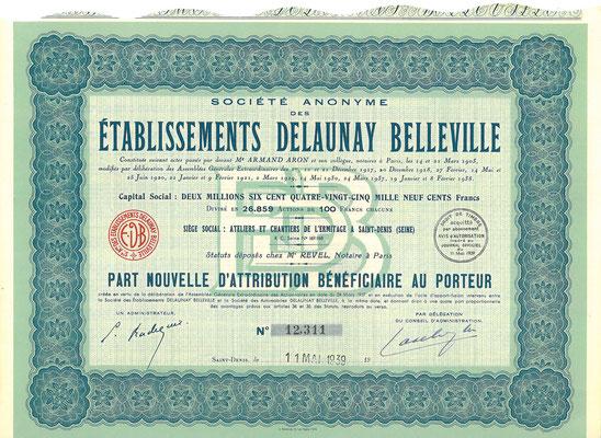 Een aandeel S.A. des Établissements Delaunay Belleville uit 1939.