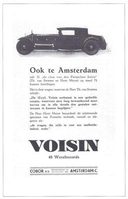 Een Nederlandse advertentie voor Voisin uit 1930.