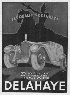 Een Franse advertentie van Delahaye uit 1930.