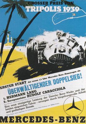 Poster van Mercedes-Benz met resultaten van de Grand Prix van 1939 in Tripolis.