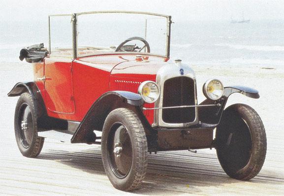 Citroën C2 5 HP cabriolet uit 1923.