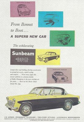 Een Engelse advertentie voor de Sunbeam Rapier.