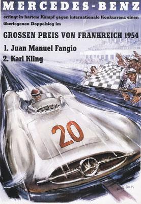 Affiche voor Mercedes-Benz van Hans Liska uit 1954.