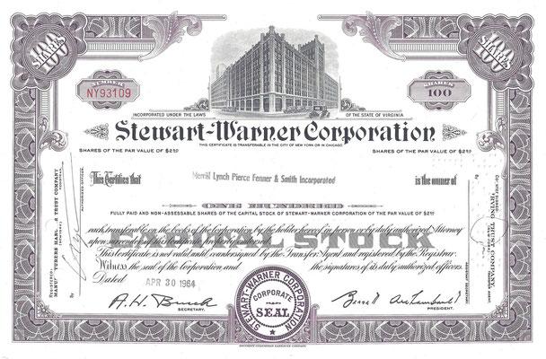 Certificaat voor 100 aandelen Stewart-Warner Corporation uit 1964.