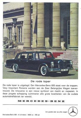Nederlandse advertentie voor de Mercedes-Benz 600 uit 1963.