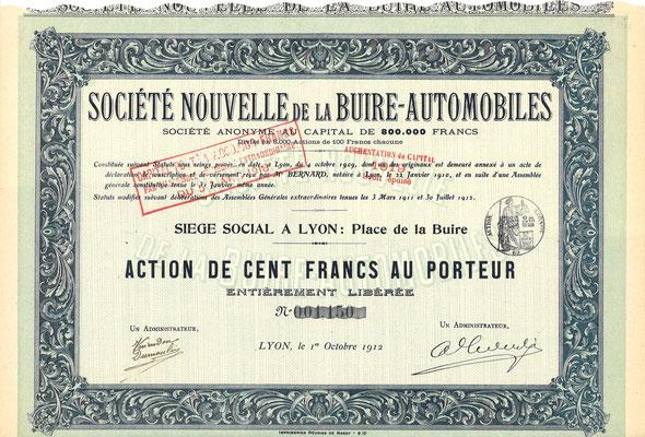 Een aandeel Société Nouvelle de la Buire-Automobiles S.A. uit 1912.