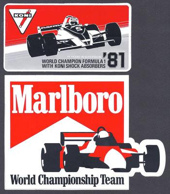 Sticker van Koni en Marlboro uit 1981 voor successen in de Formule 1.