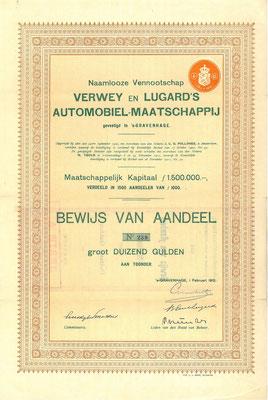 Een aandeel N.V. Verwey en Lugard's Automobiel-Maatschappij uit 1912 met de handtekening van Lugard.