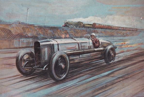 Kenelm Lee Guiness aan het stuur van de 350 h.p. Sunbeam, een kunstwerk van Frederick Gordon Crosby.