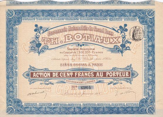 Aandeel Carrosserie Automobile de Grand Luxe Th. Botiaux S.A. uit 1906.