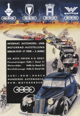 Reclame van Auto Union voor de Berlijnse Autobeurs in 1939.
