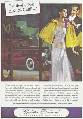 Een advertentie voor de Cadillac Fleetwood.