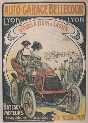Affiche uit begin vorige eeuw van een autobedrijf.