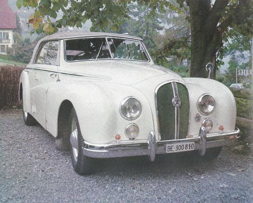Een Hotchkiss uit 1949 met een vierdeurs cabriolet carrosserie van Worblaufen.