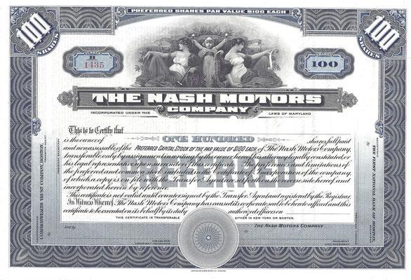 Certificaat voor 100 aandelen The Nash Motors Company van vóór 1937, blanket.