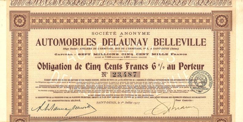 Obligatie S.A. des Automobiles Delaunay Belleville uit 1917. Dit stuk (met een ander nummer) is te koop, prijs € 12,00 email: info@automobielhistorie.com