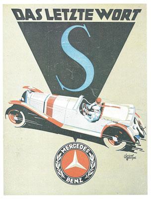 Affiche voor de Mercedes-Benz S uit 1928.