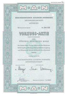 Een aandeel van 50 DM Machinenfabrik Augsburg-Nurnberg A.G. uit 1970.