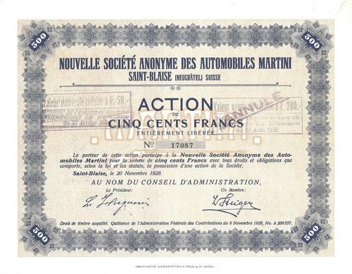 Een aandeel Nouvelle S.A. des Automobiles Martini uit 1928.