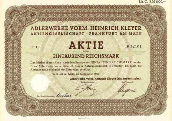 Aandeel (Aktie) 1.000 RM Adlerwerke Vorm. Heinrich Kleyer A.G. uit 1942.