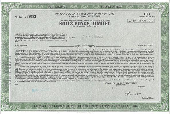 Certificaat voor 100 aandelen Rolls-Royce, Limited uit 1971.