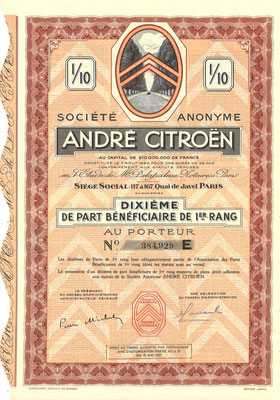 S.A. André Citroën, obligatie uit 1937.