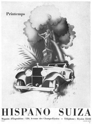 Franse advertentie van Hispano-Suiza uit 1934.