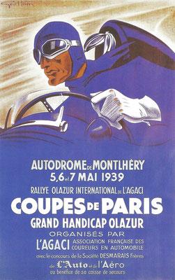 Een affiche ontworpen door Geo Ham voor de Montlhéry Autodroom in 1939.
