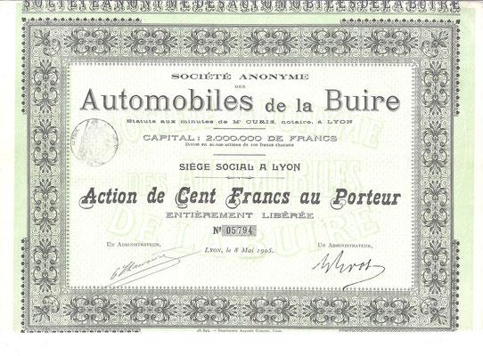Aandeel S.A. Automobiles de la Buire uit 1905 (Capital 2.000.000 de Francs). Dit stuk (met een ander nummer) is te koop, prijs € 15,00 email: info@automobielhistorie.com