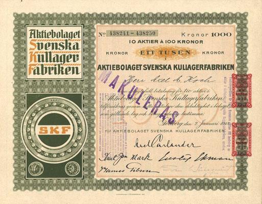 10 Aandelen Aktiebolaget Svenska Kullager Fabriken (SKF) uit 1948.