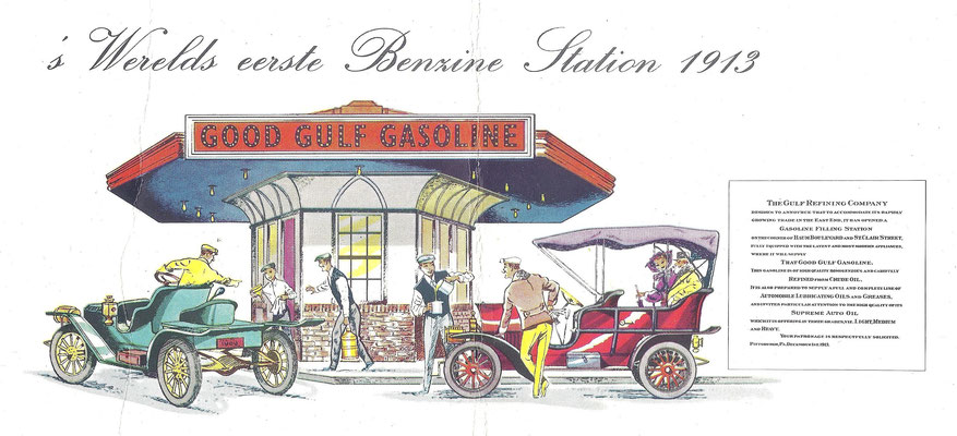Gulf benzine station in 1913 in Pittsburgh.