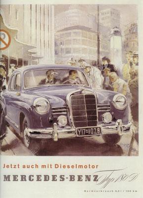Duitse advertentie uit 1953 voor de Mercedes-Benz 180 diesel.