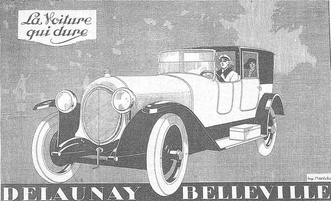 Een advertentie van Delaunay Belleville.