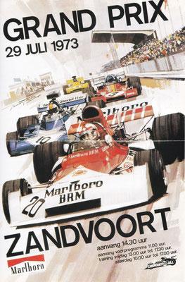Poster Grand Prix van Zandvoort 1973. De eerste Grand Prix op het gerenoveerde circuit.