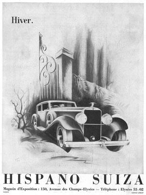Franse advertentie van Hispano-Suiza uit 1935.