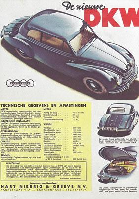 Nederlandse advertentie voor DKW uit de vijftiger jaren.