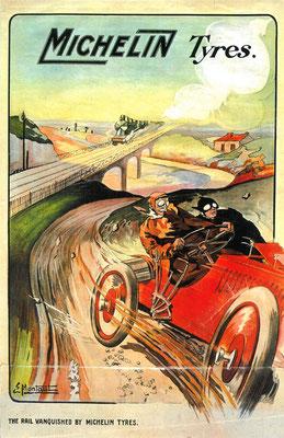 """Een affiche voor Michelin door Ernest Montaut. Hij wordt wel de """"Vader van de automobielkunst"""" genoemd. De Panhard racewagen van Heath, uitgerust met Michelin banden, gaat moeiteloos de locomotief """"Flying Scotsman"""" voorbij tussen Edinburg en Londen."""