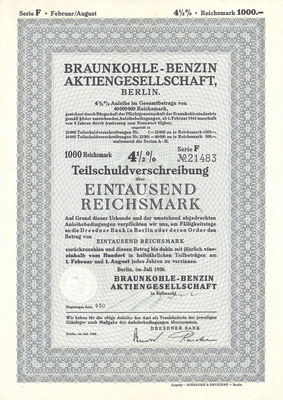 Een obligatie van 1.000 RM Braunkohle-Benzin A.G. uit 1938.