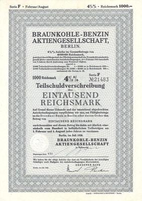 Obligatie van 1.000 RM Braunkohle-Benzin A.G. uit 1938.