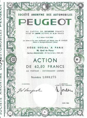 Een aandeel S.A. des Automobiles Peugeot uit 1963.