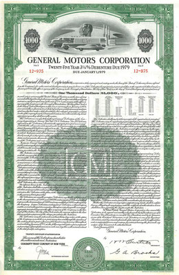 Obligatie General Motors Corporation $1.000 uit 1954.