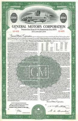 Obligatie General Motors Corporation $1.000 uit 1954.