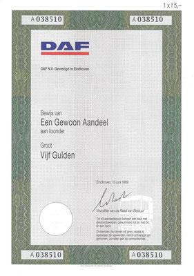 1 Aandeel DAF N.V. uit 1989. Dit stuk (met een ander nummer) is te koop, prijs € 5,00 email: info@automobielhistorie.com