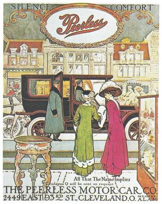 """Advertentie Peerless uit 1909 met de slagzin """"All That The Name Implies"""", Peerless betekend weergaloos."""
