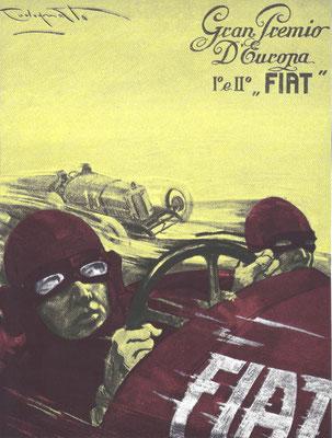 Een affiche van P.Codognato met de 1-2 overwinning van Fiat in de Grand Prix van Monza in 1923.