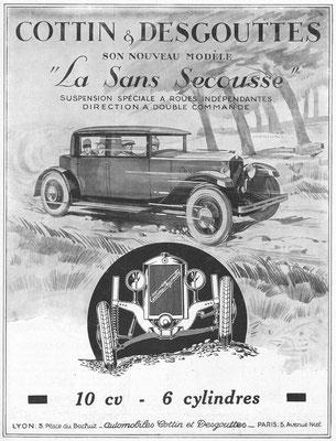 Een advertentie van Cottin & Desgouttes uit 1927.